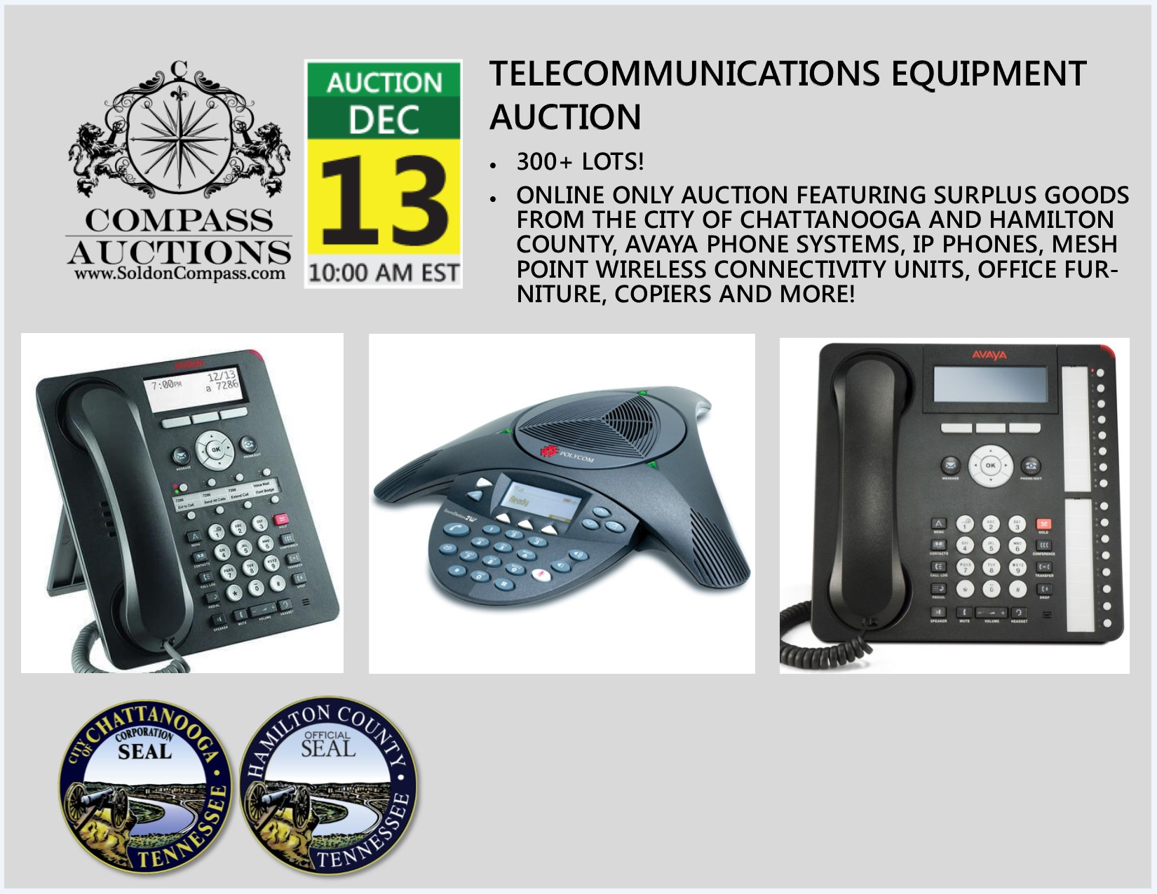 December 13 Telecommunications Equipment Auction