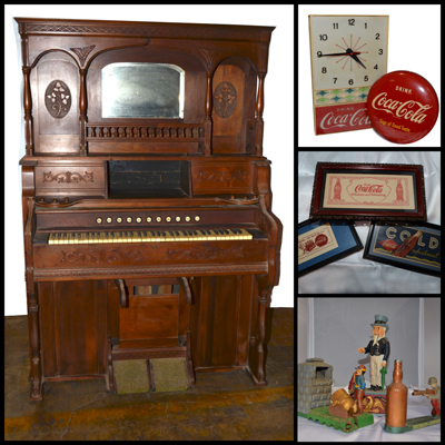 Antique pump organs coca-cola coin banks