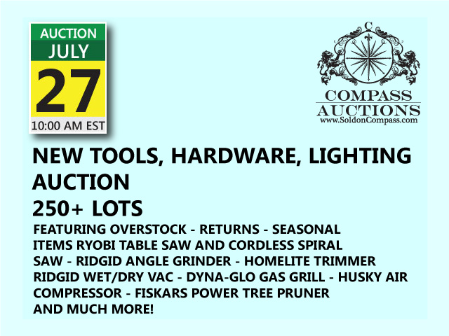 New tools hardware lighting public auction july 27 2017