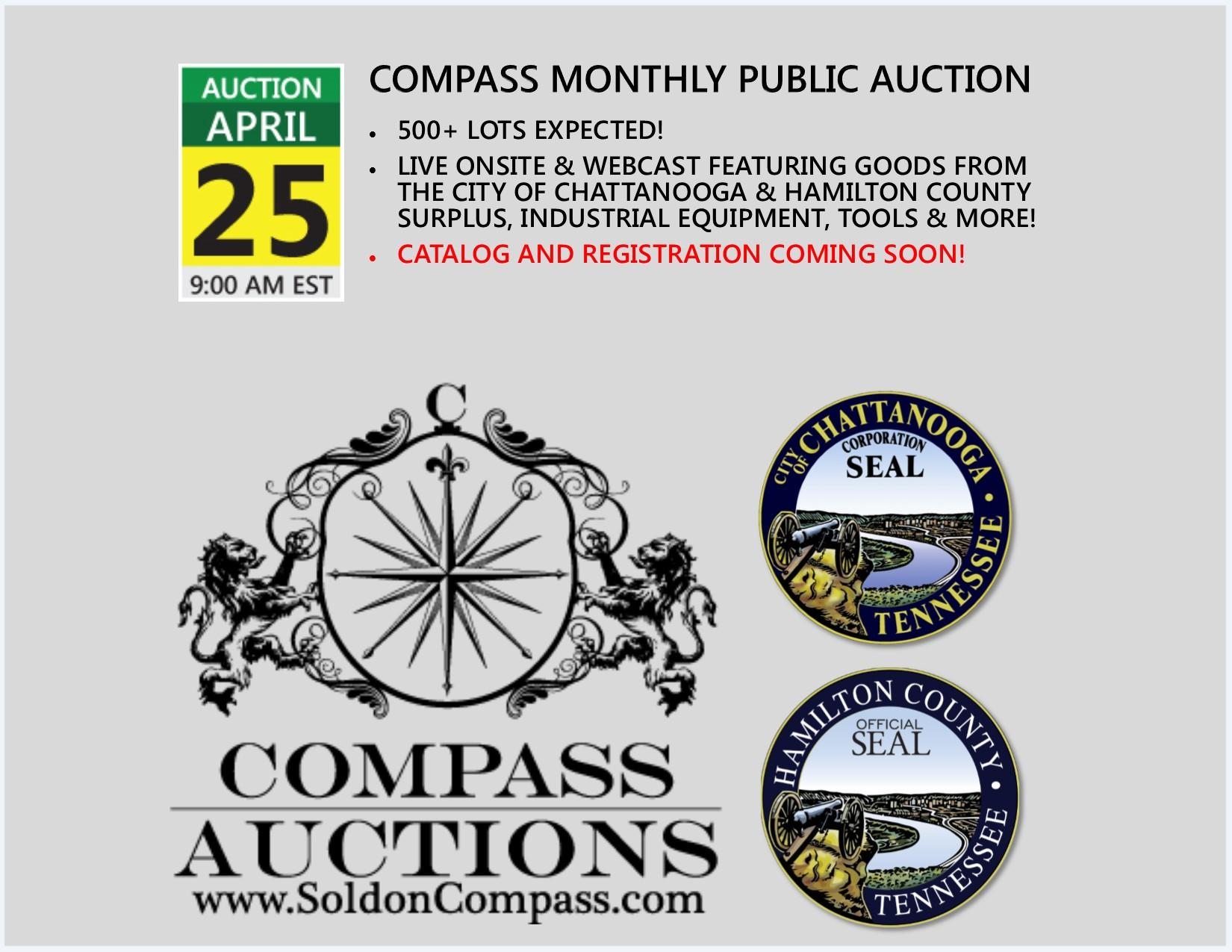 compass auctions monthly public auction industrial surplus April 2018