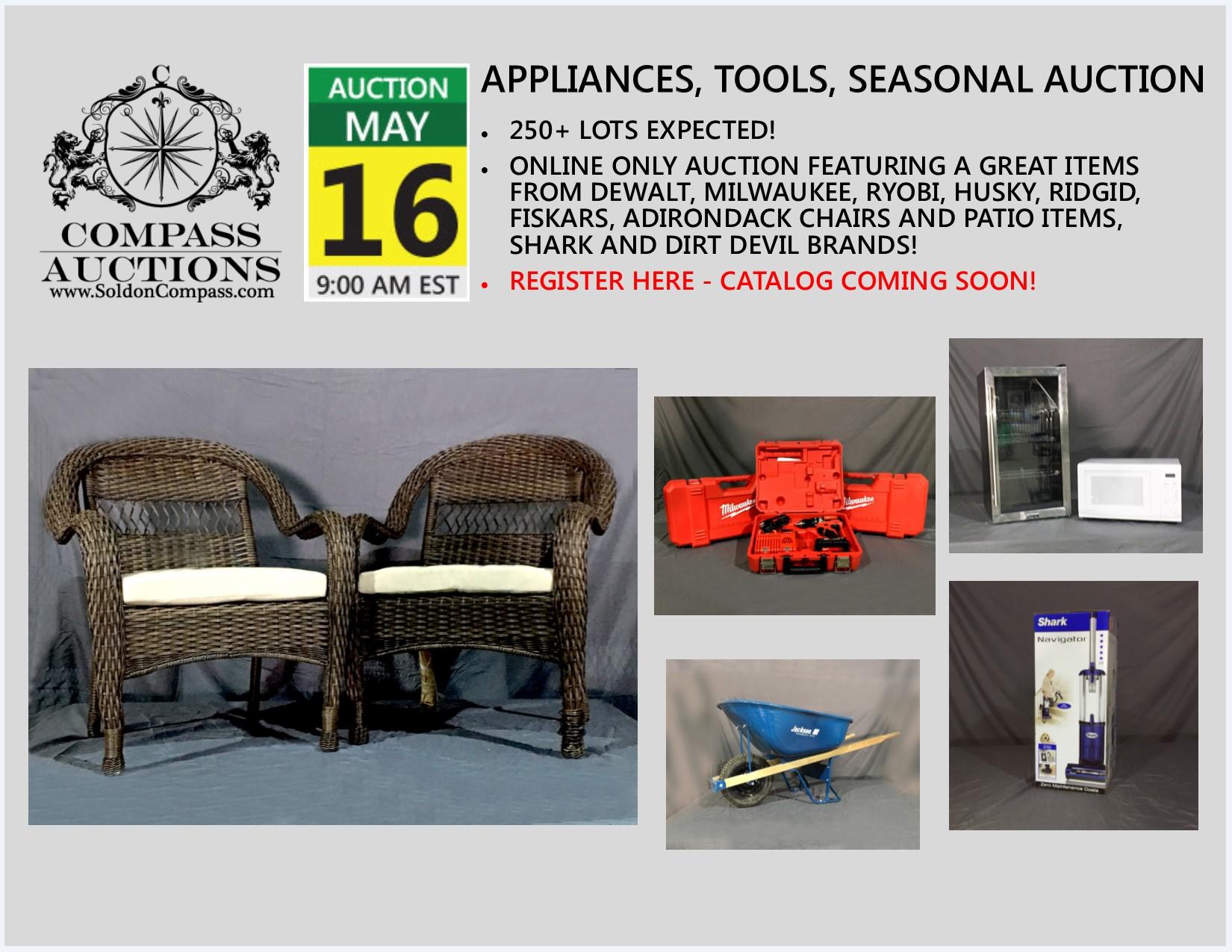 compass auctions public auction tools seasonal items appliances