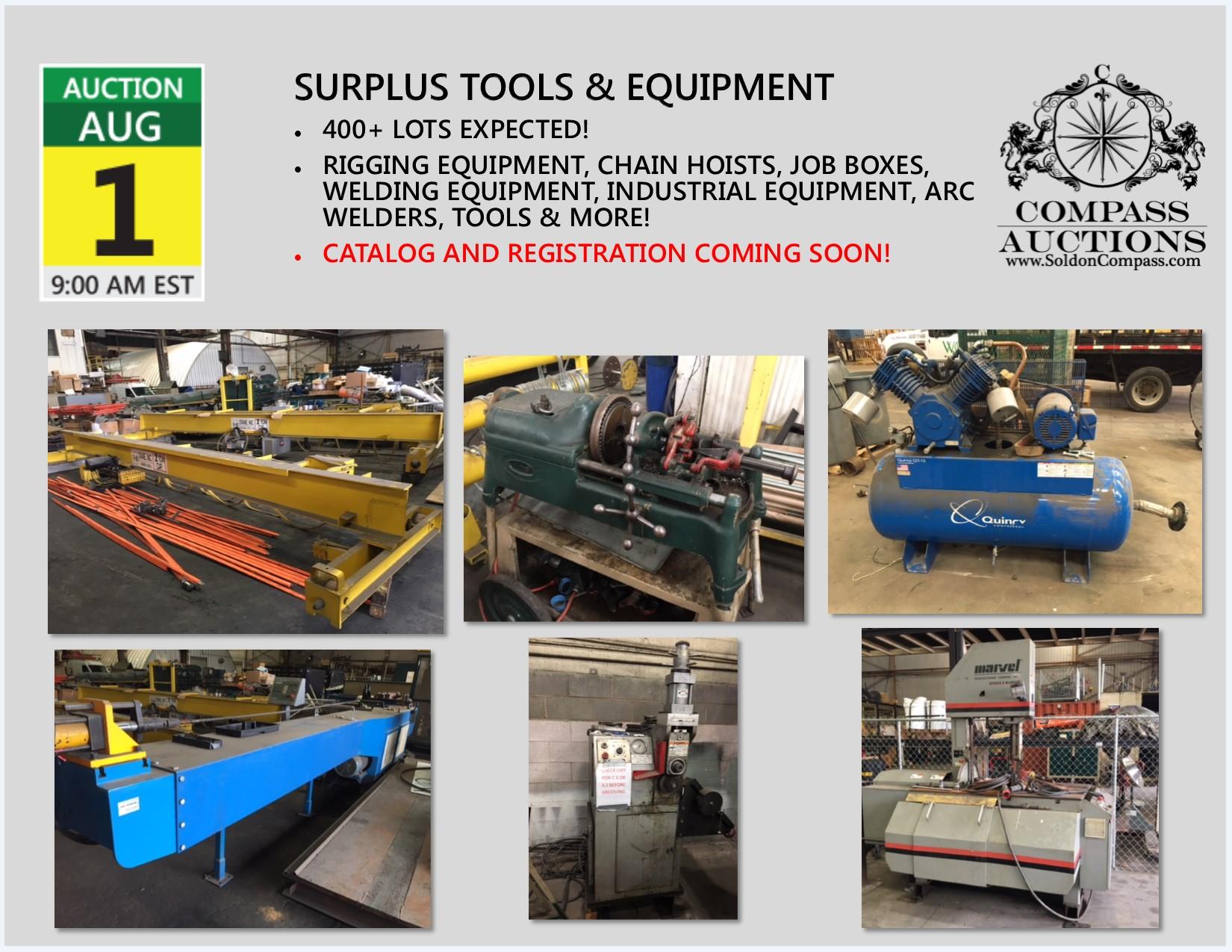 Surplus Tools Equipment Public Auction August 2018