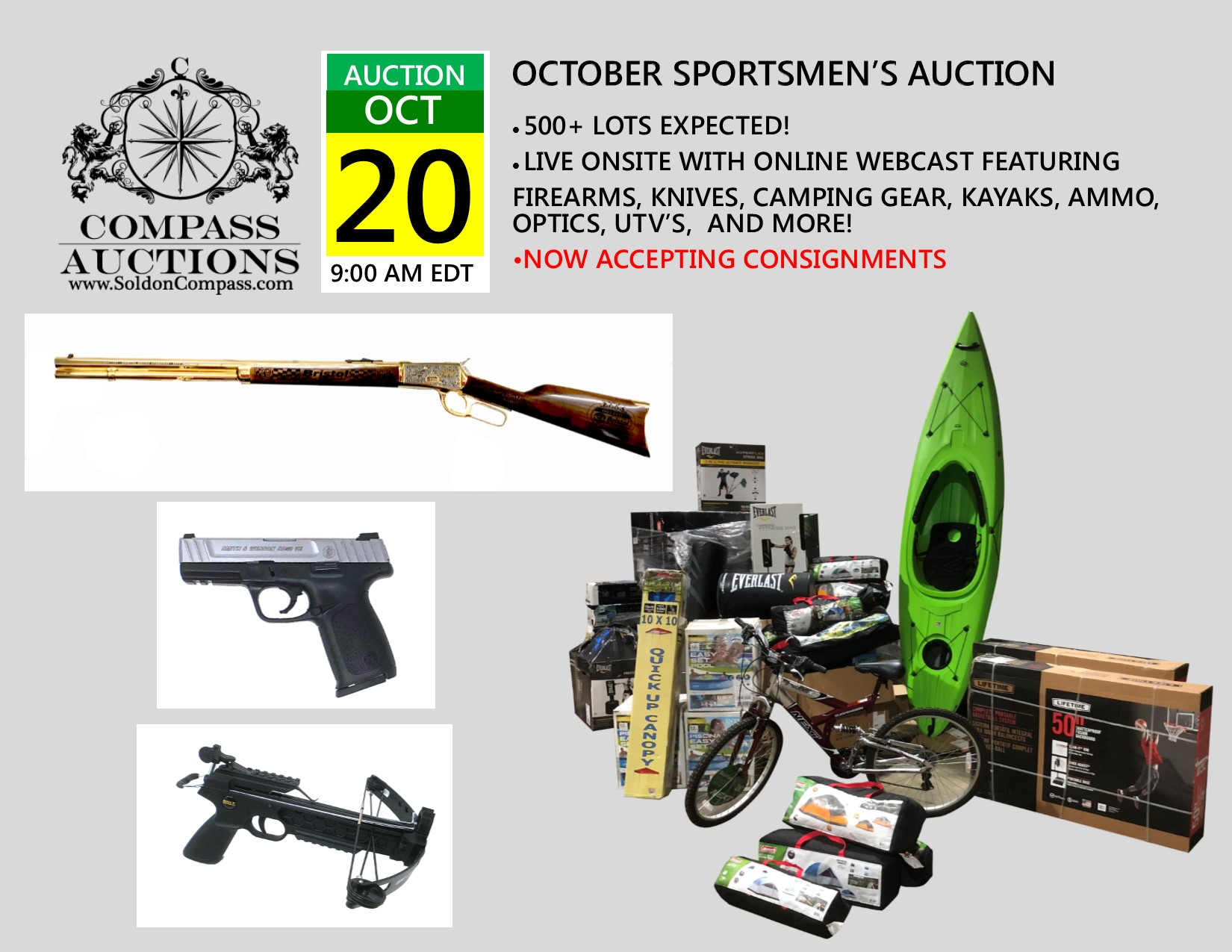 OCTOBER SPORTSMENS FIREARMS UTV SPORTING CAMPING GEAR COMPASS AUCTIONS
