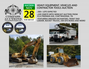 heavy equipment vehicles contractor tools november auction compass