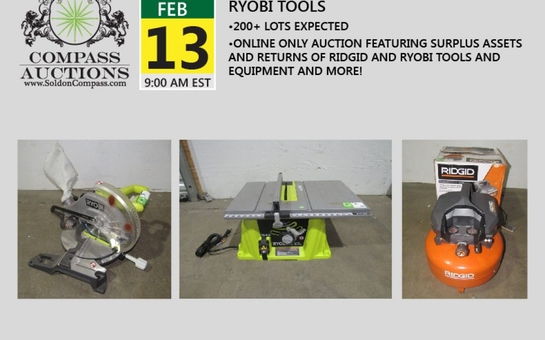 Surplus and Return Ridgid and Ryobi Tools Auction