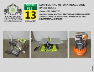 online auction February 2019 Ridgid Ryobi tools equipment Compass Auctions
