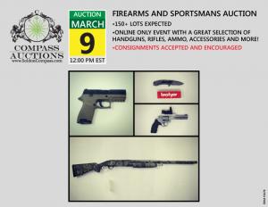 Compass Auctions online firearms auction handguns pistols revolvers rifles March 2019
