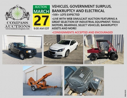 March monthly live online auction Compass vehicles motors bearing wood chipper
