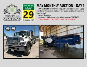 May 2019 Live Online Public Auction Municipal fuel truck rock crusher