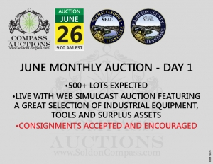 monthly live online auction Compass June
