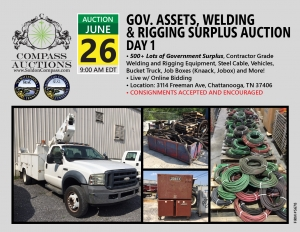 monthly live online auction Compass June welding rigging vehicles auction