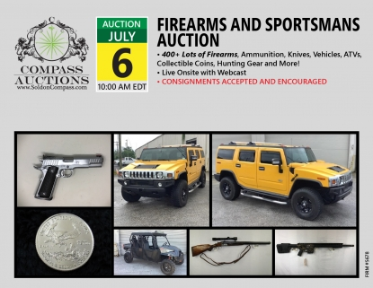 July Firearms guns knives live online auction Compass