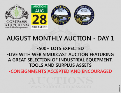 August monthly auction industrial equipment tools Compass live online auction
