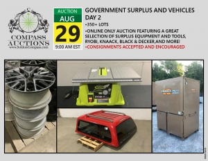 August online monthly industrial auction tools Compass Auctions