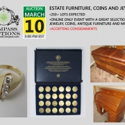 March 2019 Compass Auctions estate auction jewelry furniture coins