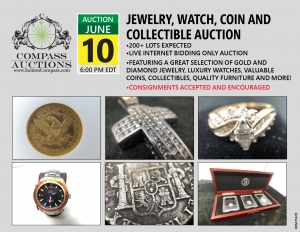 Collectible coin auction jewelry diamond pearl watches online June 2019 Compass Auctions
