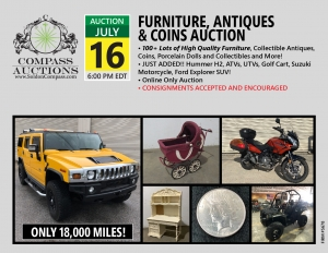 July 2019 online only auction antiques collectibles furniture Hummer H2