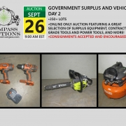 September online only public auction contractor grade tools equipment surplus assets