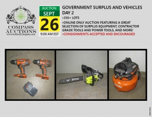 September online only public auction contractor grade tools equipment surplus assets