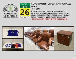 September online only public auction contractor grade tools equipment surplus assets office furniture
