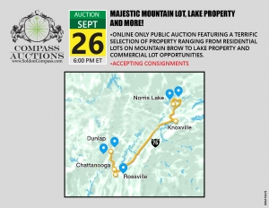Real estate public auction mountain lots lake property commercial property September 2019