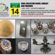 October public auction jewelry coins silver
