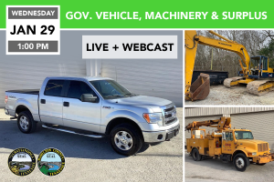 Governmentt Vehicles, Machinery, & Surplus Auction Jan. 29, 2020
