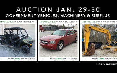 THIS WEEK: GOV. VEHICLES, MACHINERY & SURPLUS – JAN. 29 & 30