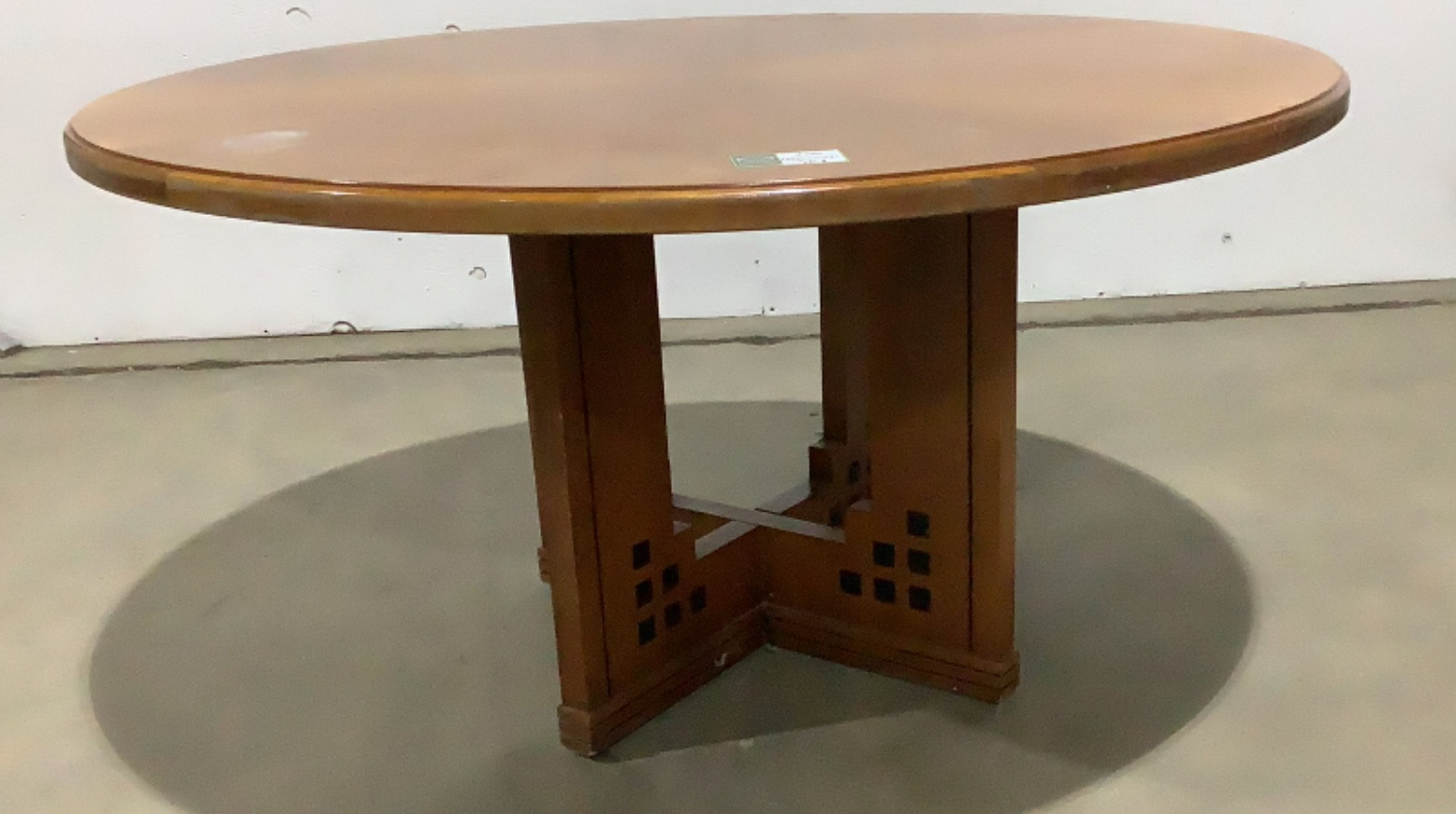 Large Round Wood Conference Table