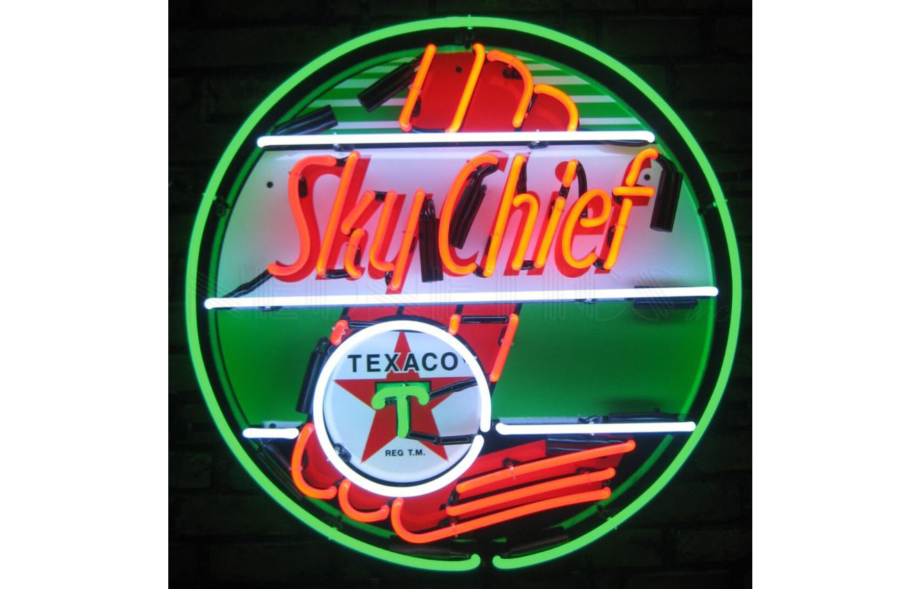 *New* Texaco Sky Cheif Neon Sign w/ Backing