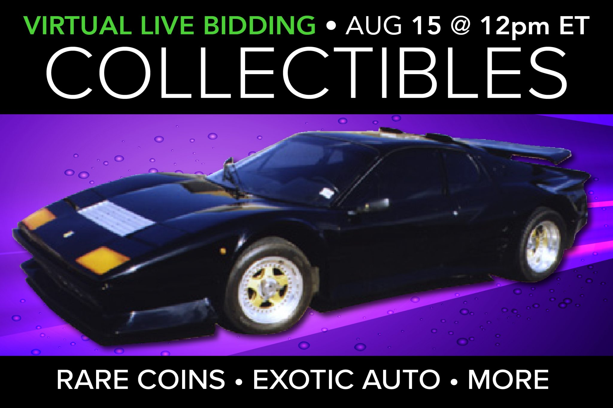 August 2020 rare coins exotic car ferrari rare stamps auction