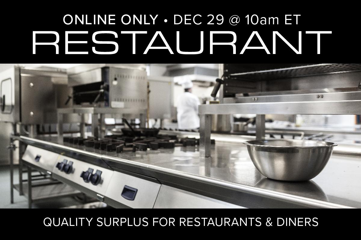 December 2020 Restaurant Equipment Kitchen Supply Auction