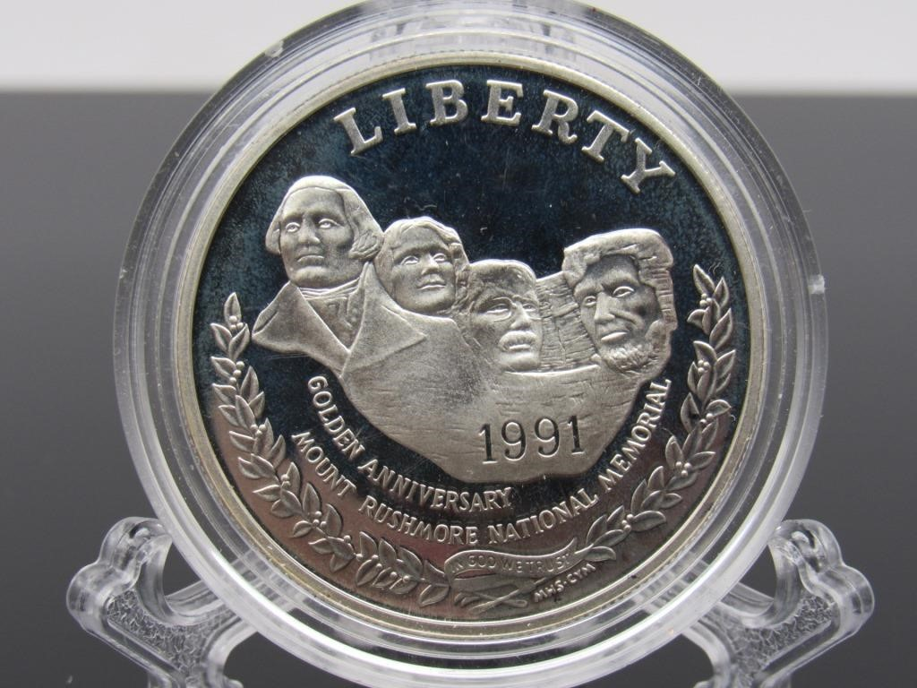 1991 - S MOUNT RUSHMORE SILVER PROOF COMMEMORATIVE -250