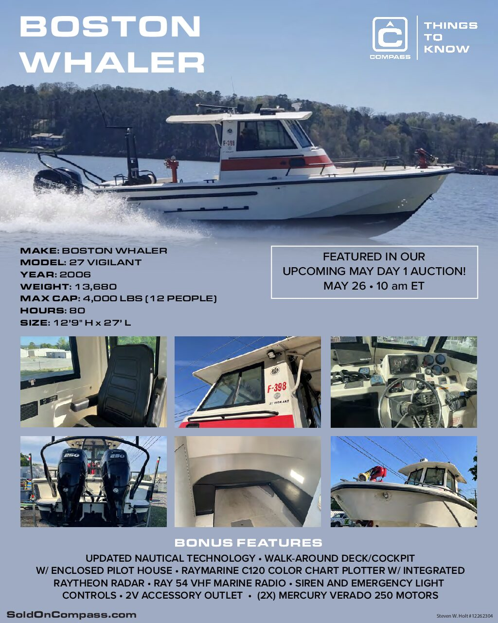 Boston Whaler Specs Infographic May Day 1 Compass Auctions and Real Estate