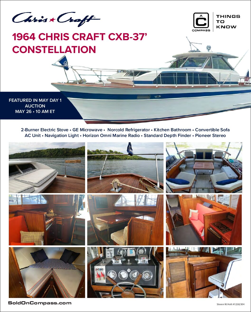 1964 Chris Craft Constellation Boat Interior Features