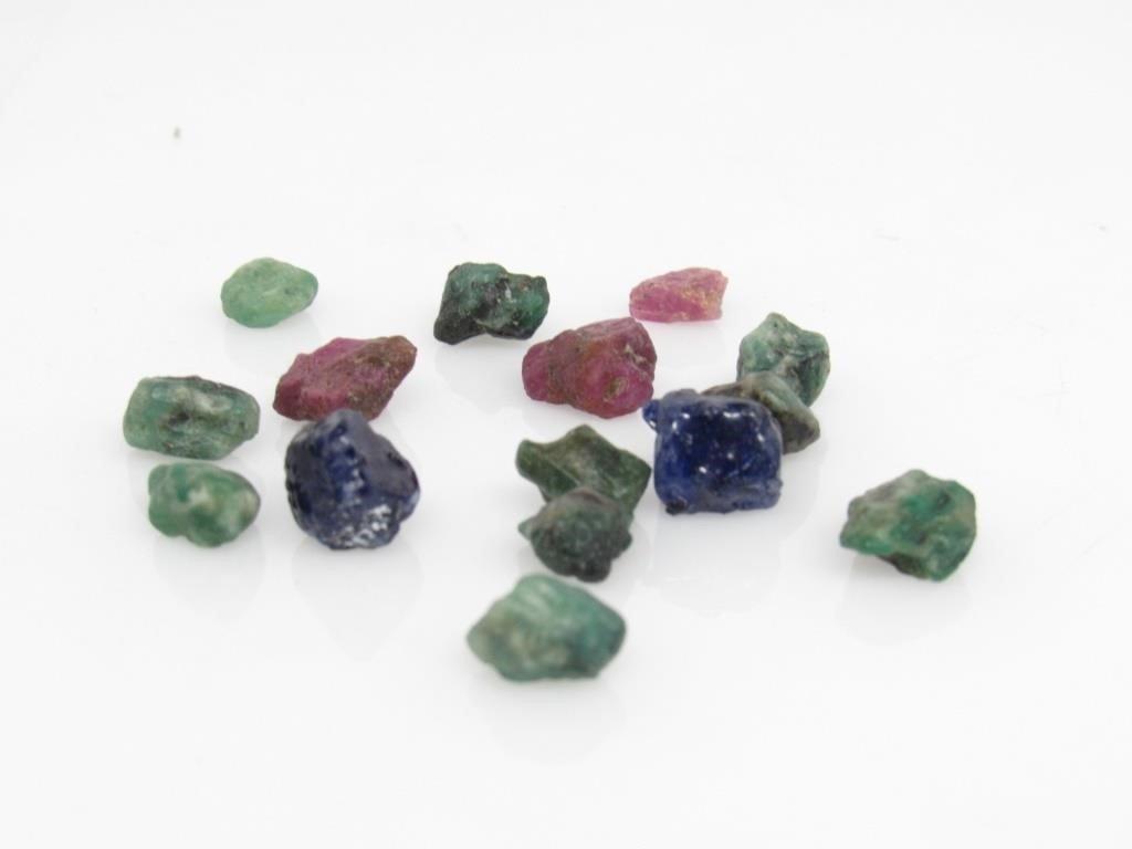 51.80 ct Ruby, Emerald, & Sapphire Gemstones