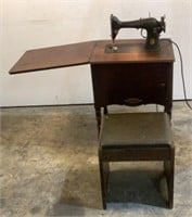 Singer Antique Sewing Machine With Stool