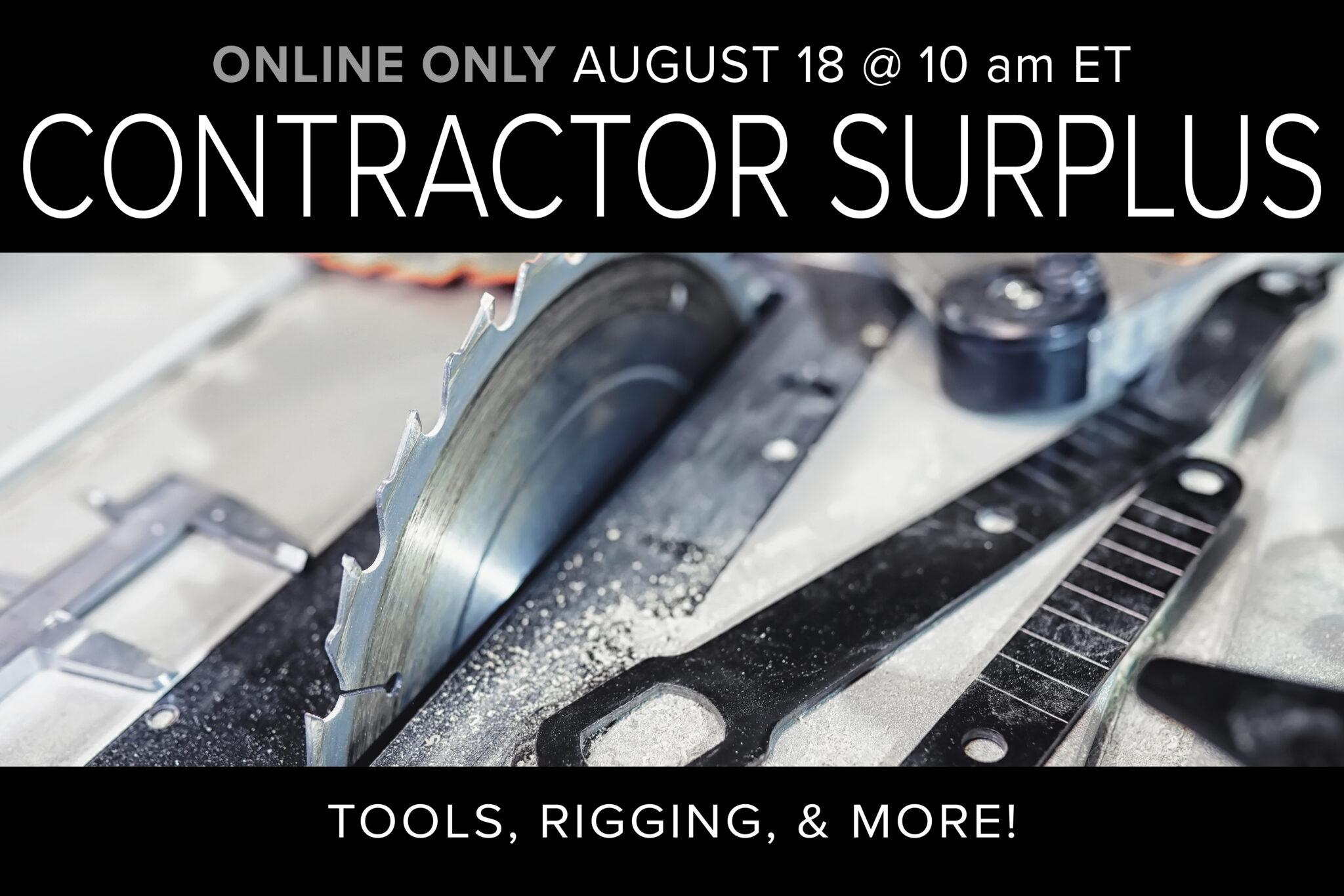 Contractor Surplus_ Tools, Rigging, Welding & more