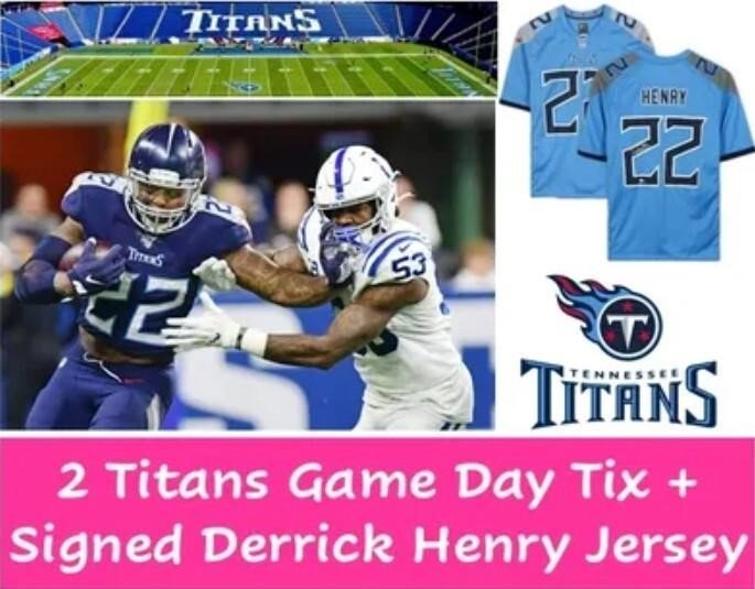 2 Titans Game Day Tix + Signed Derrick Henry Jersey